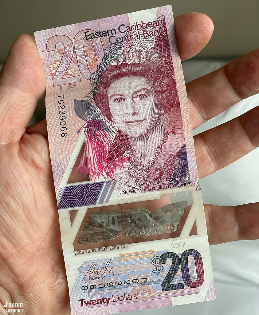 Stunning transparrent money from Dominica has a you Queen on them. Is this Claire Foy from The Crown?
