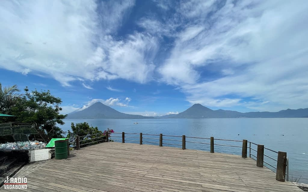 The beautiful Lake Atitlán surrounded by mountains and volcanos.