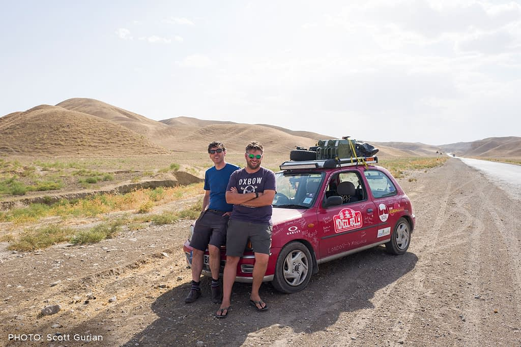 Scott and his brother Drew drove from London to Mongolia in a tiny older Nissan Micra. PHOTO: Scott Gurian