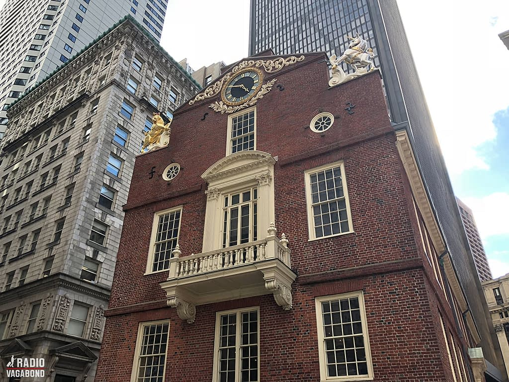 Old State House serves as a museum and stands as a small house in between the skyscrapers.